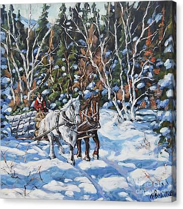 Horses Hauling Wood In Winter By Prankearts Canvas Print by Richard T Pranke
