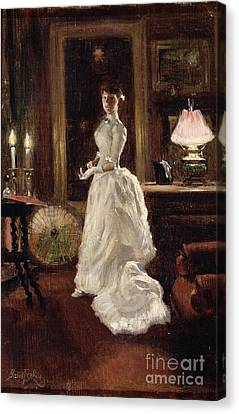 Interior Scene With A Lady In A White Evening Dress  Canvas Print by Paul Fischer