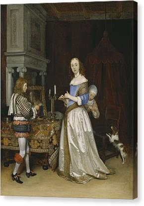 Lady At Her Toilette Canvas Print by Gerard ter Borch
