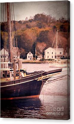 Old Ship Docked On The River Canvas Print by Jill Battaglia