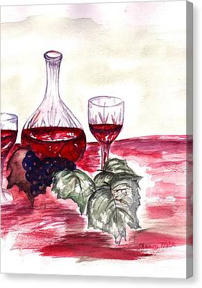 Red Wine Canvas Print by Sharon Mick