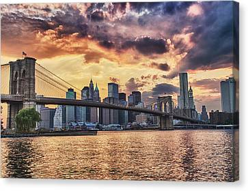 Sunset Over The Brooklyn Bridge Canvas Print by Val Black Russian Tourchin