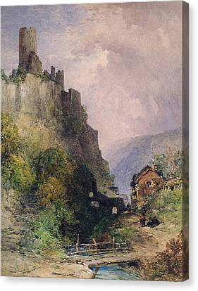 The Castle Of Katz On The Rhine Canvas Print by William Callow