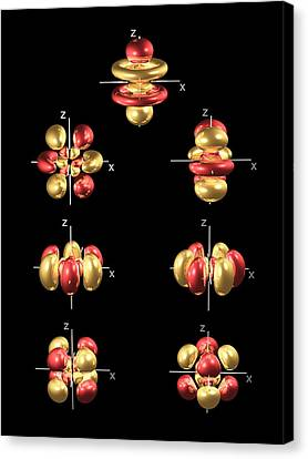 5f Electron Orbitals, General Set Canvas Print by Dr Mark J. Winter
