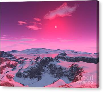 A Hypothetical Planet Orbiting A Red Canvas Print by Ron Miller