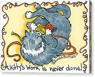 A Kitty's Work Canvas Print by Linda Battles