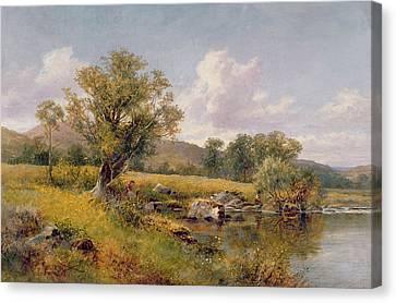 A River Landscape Canvas Print by David Bates
