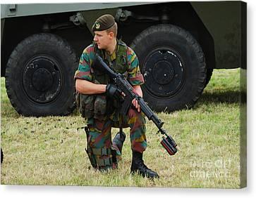 A Soldier Of An Infantry Unit Canvas Print by Luc De Jaeger