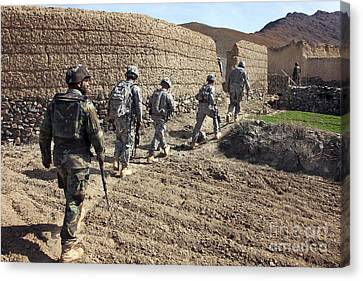Afghan National Army And U.s. Soldiers Canvas Print by Stocktrek Images