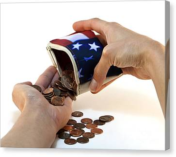 American Flag Wallet With Coins And Hands Canvas Print by Blink Images