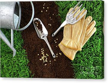 Assortment Of Garden Tools On Earth Canvas Print by Sandra Cunningham