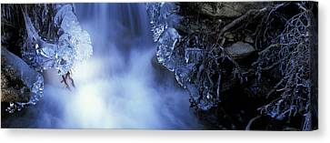 Blue Icy Waterfall Canvas Print by Ulrich Kunst And Bettina Scheidulin