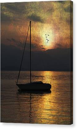 Boat In Sunset Canvas Print by Joana Kruse