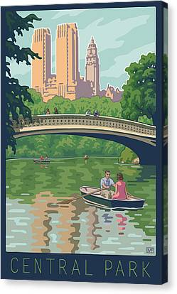 Bow Bridge In Central Park Canvas Print by Mitch Frey