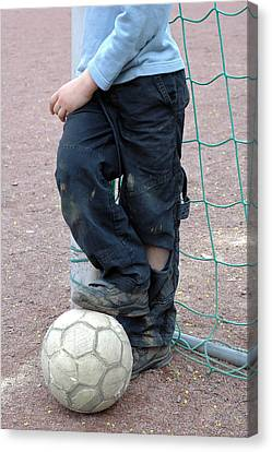 Boy With Soccer Ball Canvas Print by Matthias Hauser