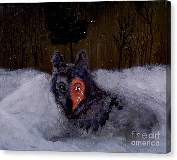 Brave Wolf Canvas Print by Ayasha Loya Aka Pari  Dominic