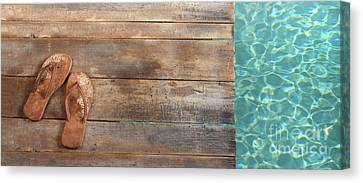Brown Sandals On Withered Wood  Canvas Print by Sandra Cunningham