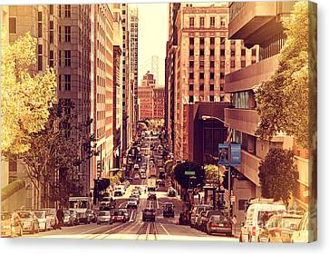 California Street In San Francisco Canvas Print by Wingsdomain Art and Photography