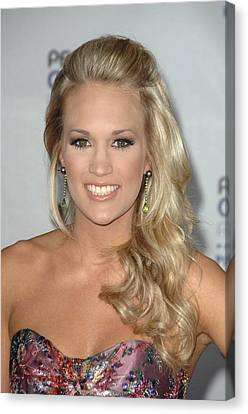 Carrie Underwood At Arrivals Canvas Print by Everett