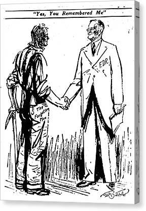 Cartoon: Fdr & Workingmen Canvas Print by Granger
