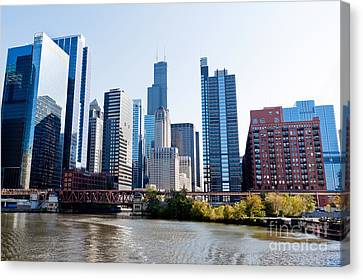 Chicago River Skyline With Sears-willis Tower Canvas Print by Paul Velgos