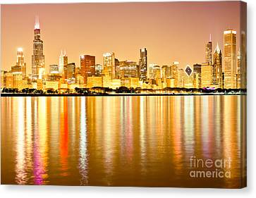 Chicago Skyline At Night Photo Canvas Print by Paul Velgos