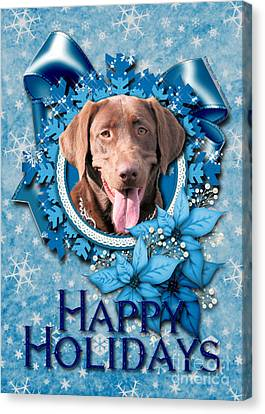 Christmas - Blue Snowflakes Labrador Canvas Print by Renae Laughner