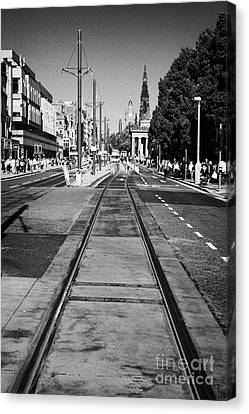 Completed Tram Rails On Princes Street Edinburgh Scotland Uk United Kingdom Canvas Print by Joe Fox