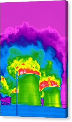 Cooling Towers, Thermogram Canvas Print by Tony Mcconnell