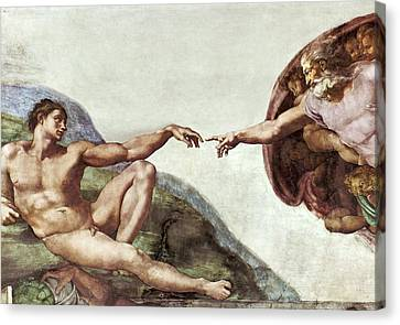 Creation Of Adam Canvas Print by Sheila Terry