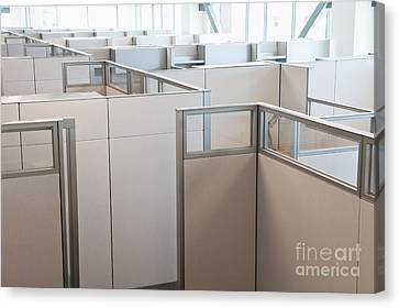 Empty Office Cubicles Canvas Print by Jetta Productions, Inc