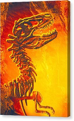 Enhanced Image Of A Tyrannosaurus Rex Skeleton Canvas Print by Mehau Kulyk