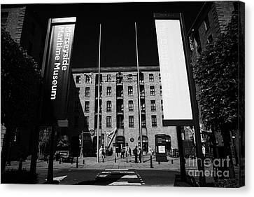 Entrance To The Albert Dock And Beatles Museum Liverpool Merseyside England Uk Canvas Print by Joe Fox