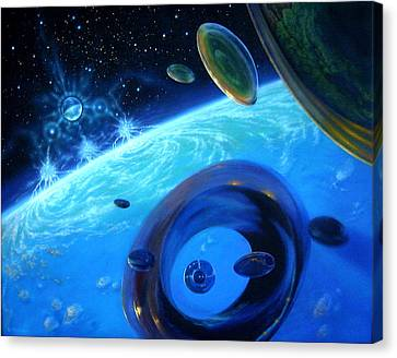 Eon's Web-orbital Encounter Canvas Print by Pat Lewis