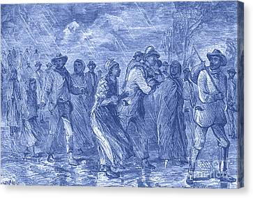 Escaping To Underground Railroad Canvas Print by Photo Researchers
