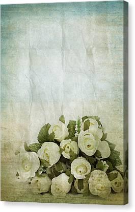 Floral Pattern On Old Paper Canvas Print by Setsiri Silapasuwanchai