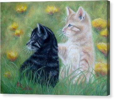 Frisky Friends Canvas Print by Annamarie Sidella-Felts