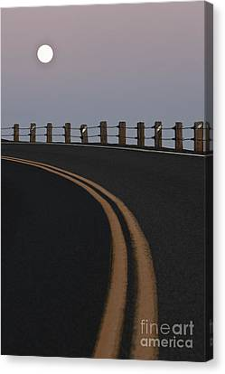 Full Moon Over A Curving Road Canvas Print by Jetta Productions, Inc