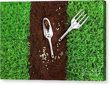 Garden Tools On Earth Canvas Print by Sandra Cunningham