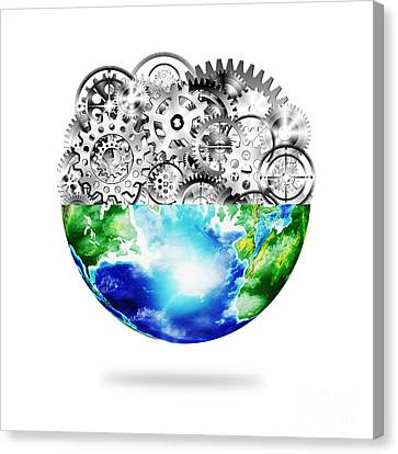 Globe With Cogs And Gears Canvas Print by Setsiri Silapasuwanchai