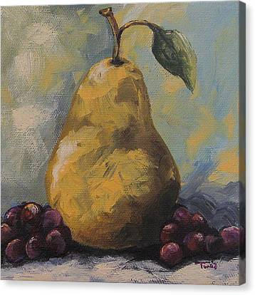 Golden Pear With Grapes Canvas Print by Torrie Smiley