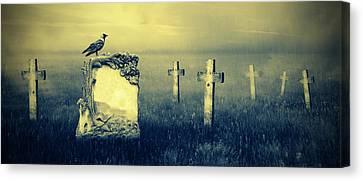 Gravestones In Moonlight Canvas Print by Jaroslaw Grudzinski
