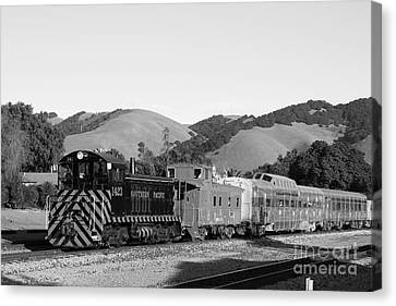 Historic Niles Trains In California . Southern Pacific Locomotive And Sante Fe Caboose.7d10819.bw Canvas Print by Wingsdomain Art and Photography