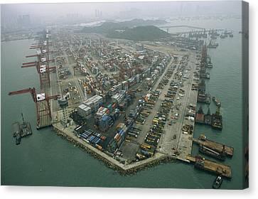 Hong Kong Cargo Terminal, One Canvas Print by Justin Guariglia