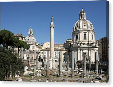 Imperial Fora With The Trajan's Column And The Church Santissimo Nome Di Maria.  Rome Canvas Print by Bernard Jaubert