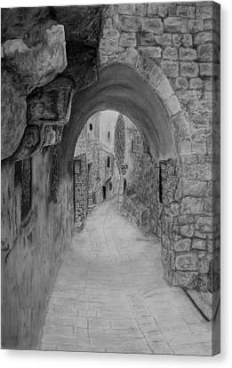Jerusalem Old Street Canvas Print by Marwan Hasna - Art Beat