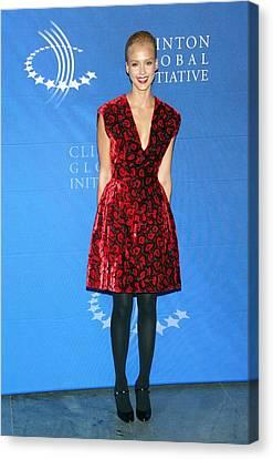 Jessica Alba Wearing A Prada Dress Canvas Print by Everett