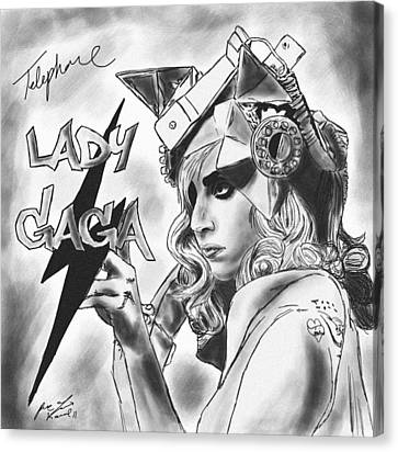 Lady Gaga Telephone Drawing Canvas Print by Pierre Louis