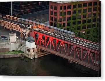 Lake Street Crossing Chicago River Canvas Print by Steve Gadomski