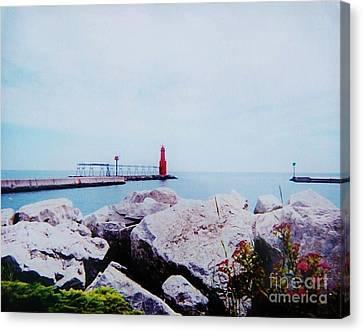 Little Red Lighthouse Canvas Print by Marsha Heiken